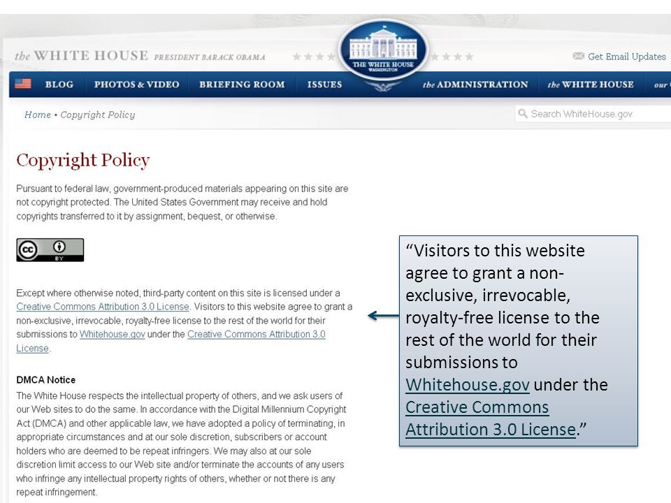 Visitors to this website agree to grant a non- exclusive, irrevocable, royalty-free license to the rest of the world for their submissions to Whitehouse.gov under the Creative Commons Attribution 3.0 License. Whitehouse.gov Creative Commons Attribution 3.0 License Visitors to this website agree to grant a non- exclusive, irrevocable, royalty-free license to the rest of the world for their submissions to Whitehouse.gov under the Creative Commons Attribution 3.0 License. Whitehouse.gov Creative Commons Attribution 3.0 License