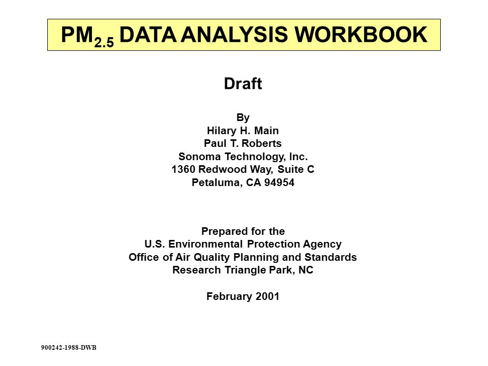 Draft By Hilary H. Main Paul T. Roberts Sonoma Technology, Inc.