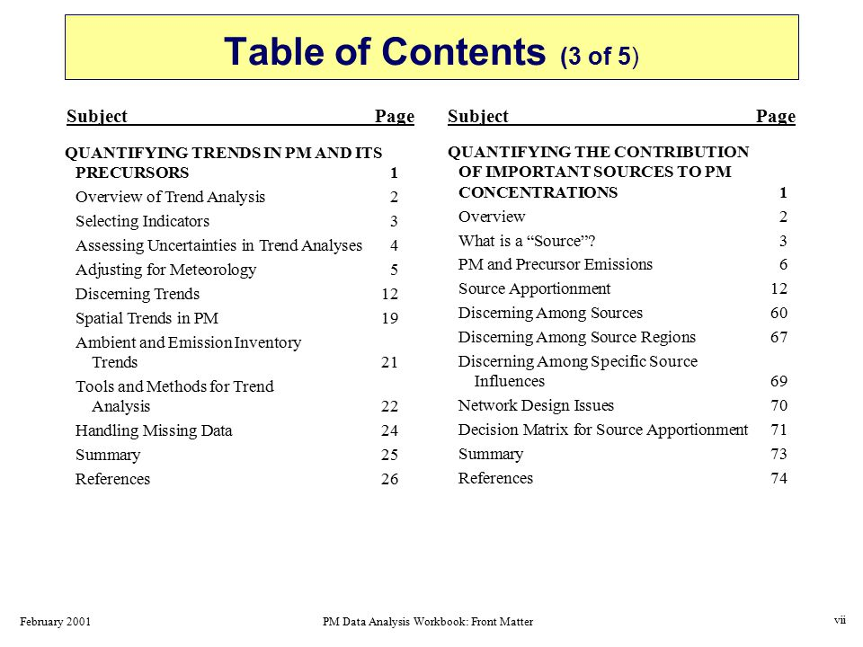 February 2001PM Data Analysis Workbook: Front Matter Table of Contents (3 of 5) QUANTIFYING THE CONTRIBUTION OF IMPORTANT SOURCES TO PM CONCENTRATIONS1 Overview2 What is a Source 3 PM and Precursor Emissions6 Source Apportionment 12 Discerning Among Sources60 Discerning Among Source Regions67 Discerning Among Specific Source Influences69 Network Design Issues70 Decision Matrix for Source Apportionment71 Summary73 References74 SubjectPage QUANTIFYING TRENDS IN PM AND ITS PRECURSORS1 Overview of Trend Analysis2 Selecting Indicators3 Assessing Uncertainties in Trend Analyses4 Adjusting for Meteorology5 Discerning Trends12 Spatial Trends in PM19 Ambient and Emission Inventory Trends21 Tools and Methods for Trend Analysis22 Handling Missing Data24 Summary25 References26 vii