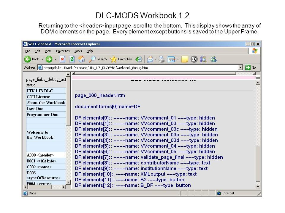 DLC-MODS Workbook 1.2 Returning to the input page, scroll to the bottom.