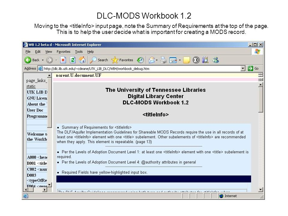 DLC-MODS Workbook 1.2 Moving to the input page, note the Summary of Requirements at the top of the page.