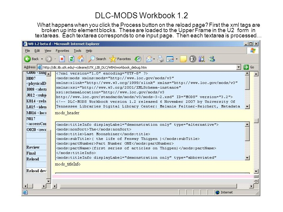 DLC-MODS Workbook 1.2 What happens when you click the Process button on the reload page.