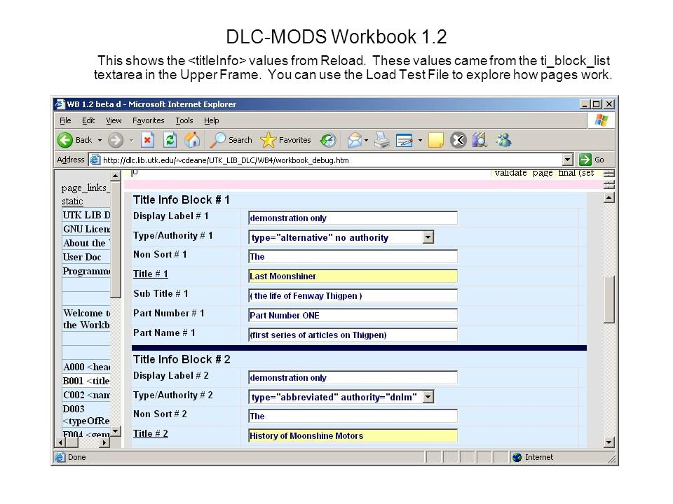 DLC-MODS Workbook 1.2 This shows the values from Reload.