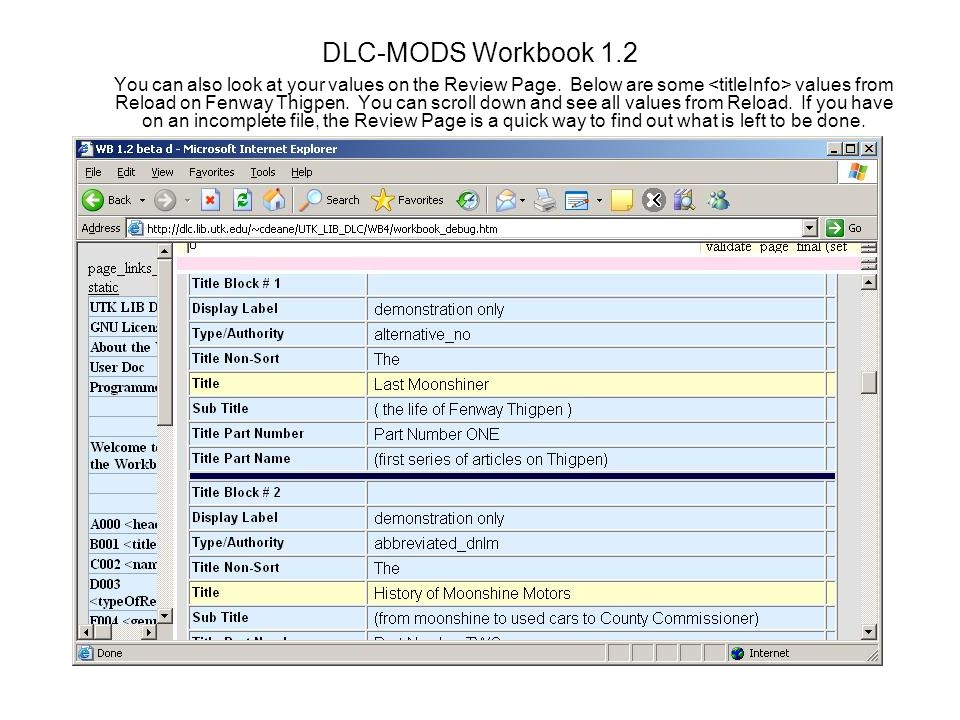 DLC-MODS Workbook 1.2 You can also look at your values on the Review Page.