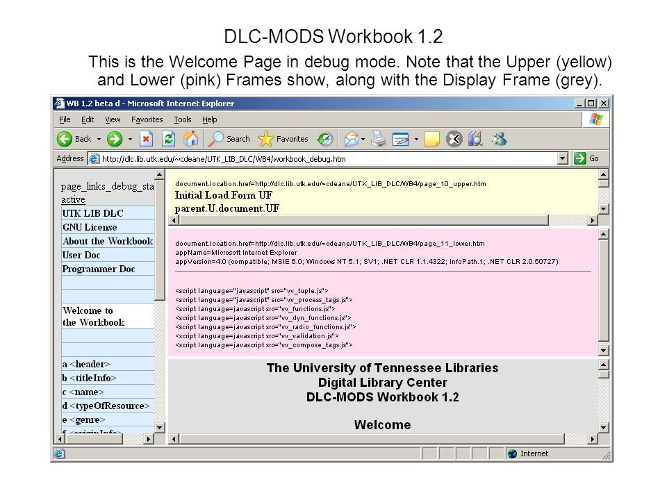 DLC-MODS Workbook 1.2 This is the Welcome Page in debug mode.