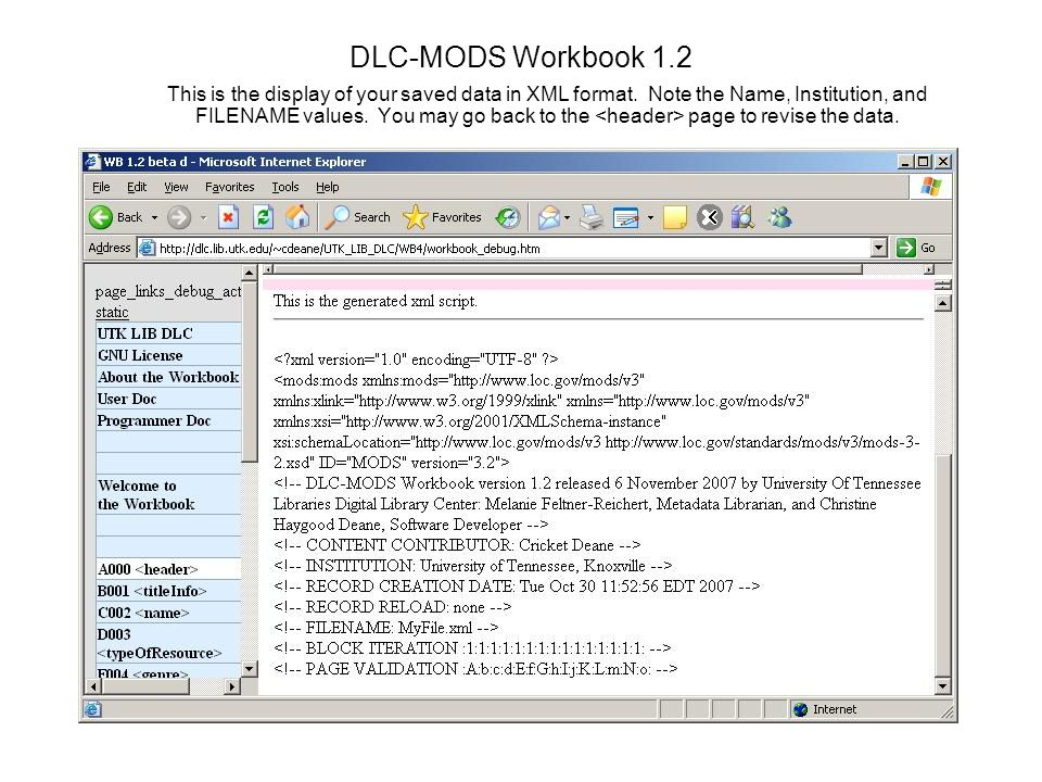 DLC-MODS Workbook 1.2 This is the display of your saved data in XML format.