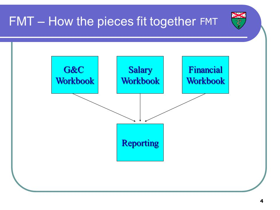 4 FMT – How the pieces fit together SalaryWorkbookFinancialWorkbook Reporting G&CWorkbook FMT