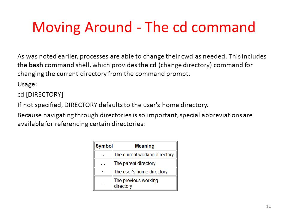 Moving Around - The cd command As was noted earlier, processes are able to change their cwd as needed.