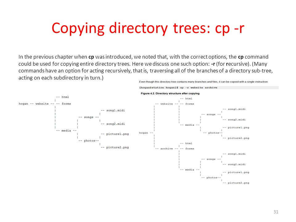 Copying directory trees: cp -r In the previous chapter when cp was introduced, we noted that, with the correct options, the cp command could be used for copying entire directory trees.