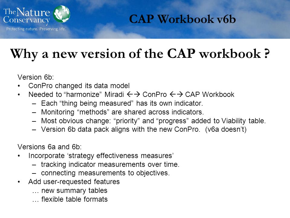Why a new version of the CAP workbook .