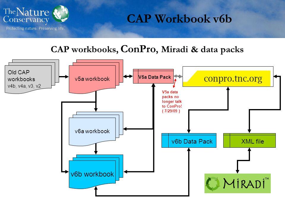 CAP workbooks, ConPro, Miradi & data packs XML file v5a workbook Old CAP workbooks v4b, v4a, v3, v2 V5a Data Pack v6b workbook v6b Data Pack CAP Workbook v6b v6a workbook V5a data packs no longer talk to ConPro.