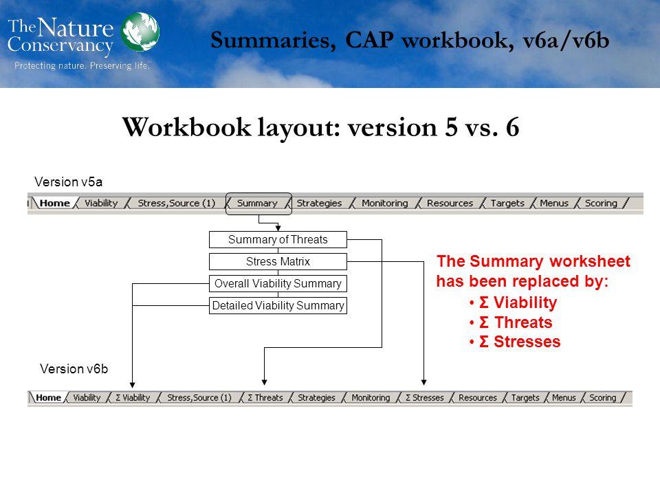 Workbook layout: version 5 vs.