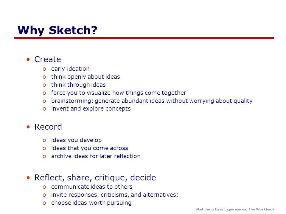 Sketching User Experiences: The Workbook Why Sketch.