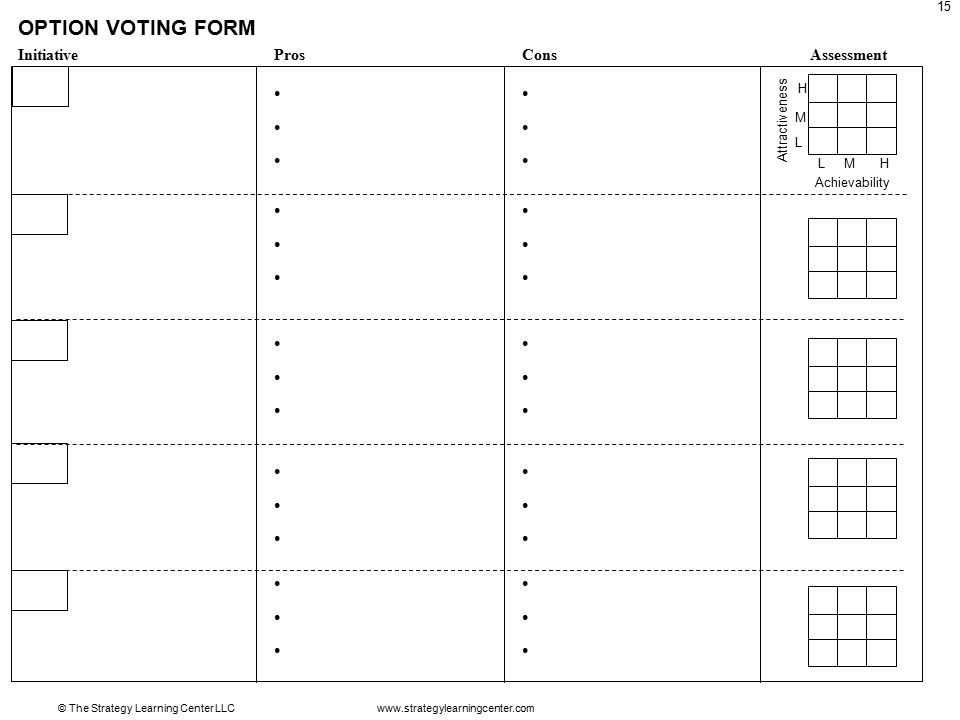 © The Strategy Learning Center LLC 15 OPTION VOTING FORM InitiativeProsConsAssessment Attractiveness Achievability LMH L M H www.strategylearningcenter.com