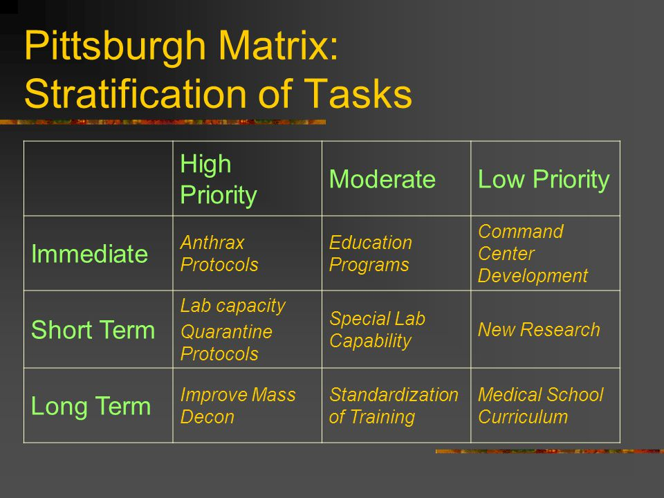 Pittsburgh Matrix: Stratification of Tasks High Priority ModerateLow Priority Immediate Anthrax Protocols Education Programs Command Center Development Short Term Lab capacity Quarantine Protocols Special Lab Capability New Research Long Term Improve Mass Decon Standardization of Training Medical School Curriculum