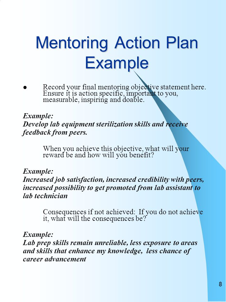 8 Mentoring Action Plan Example Record your final mentoring objective statement here. Ensure it is action specific, important to you, measurable, insp