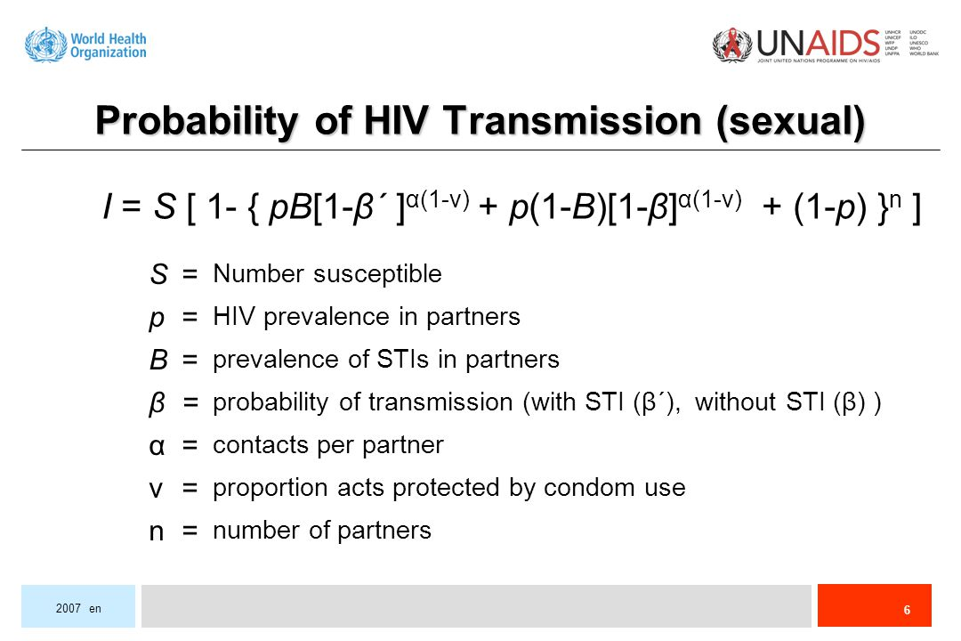 6 2007 en proportion acts protected by condom use number of partners probability of transmission (with STI (β´), without STI (β) ) prevalence of STIs