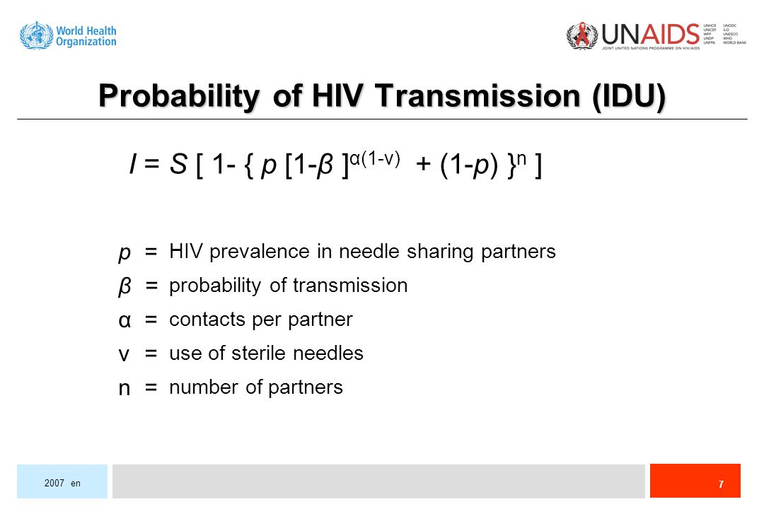 7 2007 en probability of transmission use of sterile needles number of partners HIV prevalence in needle sharing partners contacts per partner p =p =