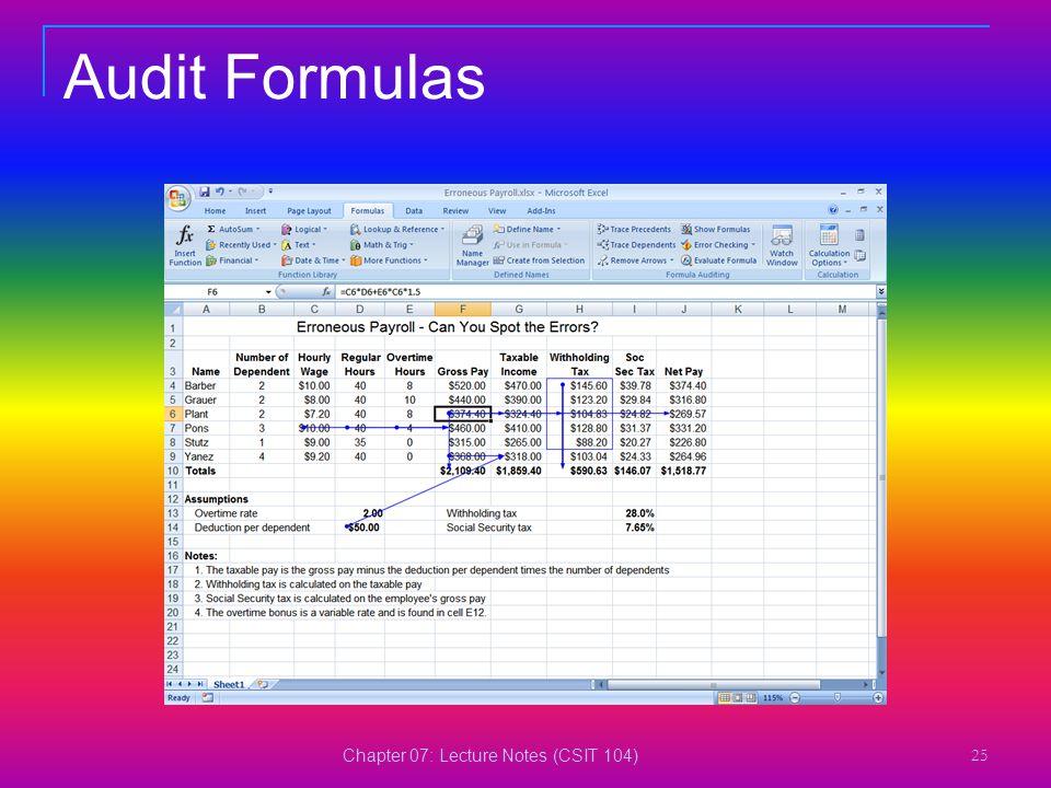 Chapter 07: Lecture Notes (CSIT 104) 25 Audit Formulas