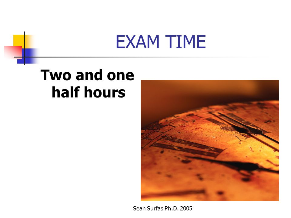 Sean Surfas Ph.D. 2005 EXAM TIME Two and one half hours