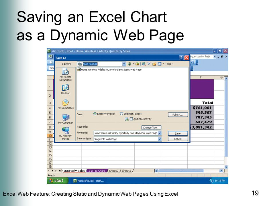 Excel Web Feature: Creating Static and Dynamic Web Pages Using Excel 19 Saving an Excel Chart as a Dynamic Web Page