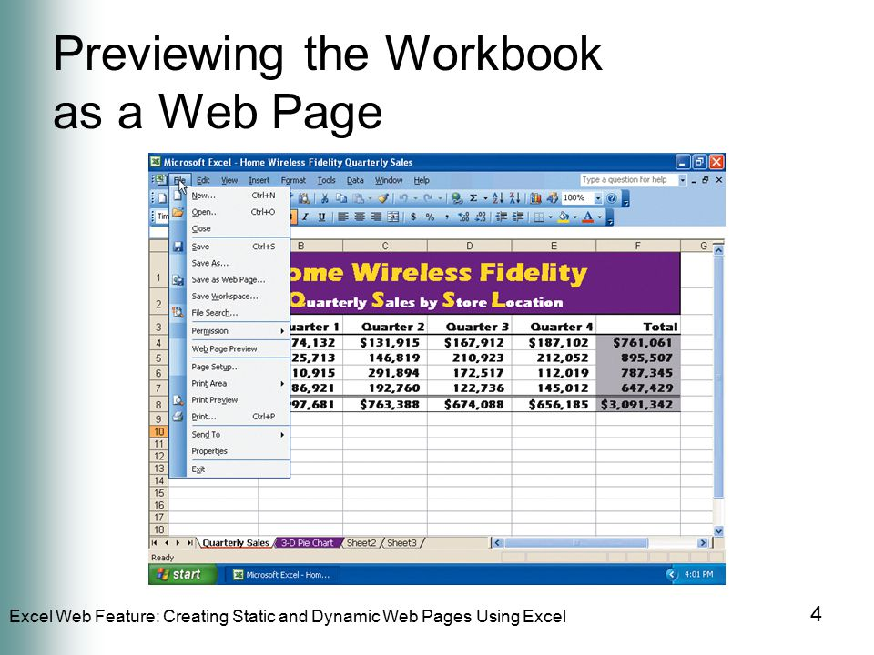 Excel Web Feature: Creating Static and Dynamic Web Pages Using Excel 4 Previewing the Workbook as a Web Page