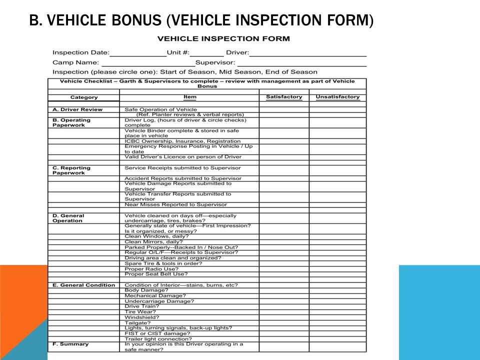 B. VEHICLE BONUS (VEHICLE INSPECTION FORM)