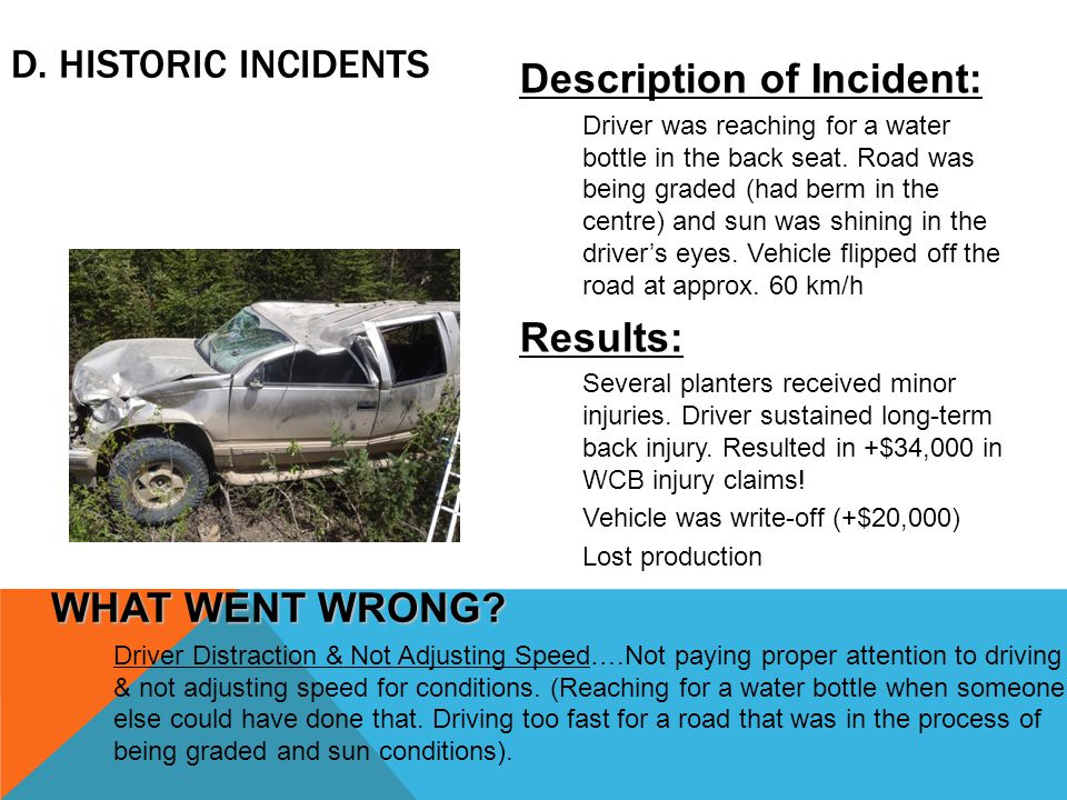 D. HISTORIC INCIDENTS Description of Incident: Driver was reaching for a water bottle in the back seat. Road was being graded (had berm in the centre)