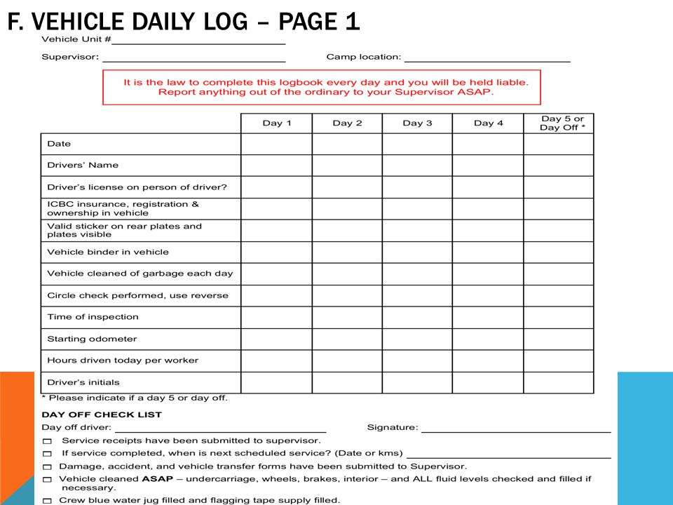 F. VEHICLE DAILY LOG – PAGE 1