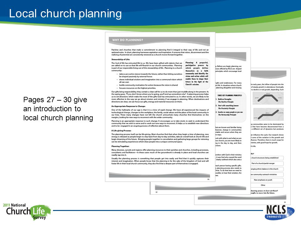 Local church planning Pages 27 – 30 give an introduction to local church planning