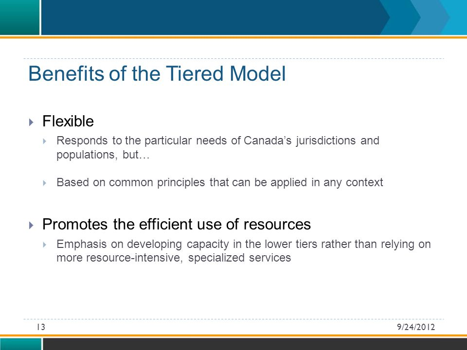 Flexible  Responds to the particular needs of Canada's jurisdictions and populations, but…  Based on common principles that can be applied in any context  Promotes the efficient use of resources  Emphasis on developing capacity in the lower tiers rather than relying on more resource-intensive, specialized services Benefits of the Tiered Model 9/24/201213