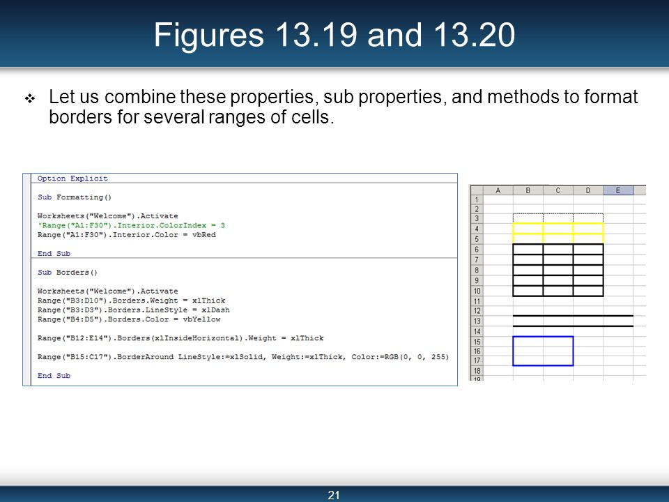 21 Figures 13.19 and 13.20  Let us combine these properties, sub properties, and methods to format borders for several ranges of cells.