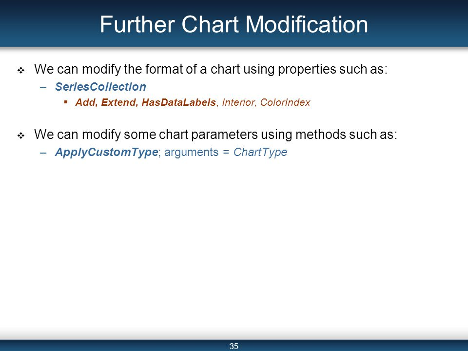 35 Further Chart Modification  We can modify the format of a chart using properties such as: –SeriesCollection  Add, Extend, HasDataLabels, Interior, ColorIndex  We can modify some chart parameters using methods such as: –ApplyCustomType; arguments = ChartType