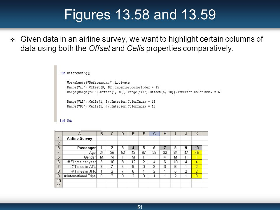 51 Figures 13.58 and 13.59  Given data in an airline survey, we want to highlight certain columns of data using both the Offset and Cells properties comparatively.