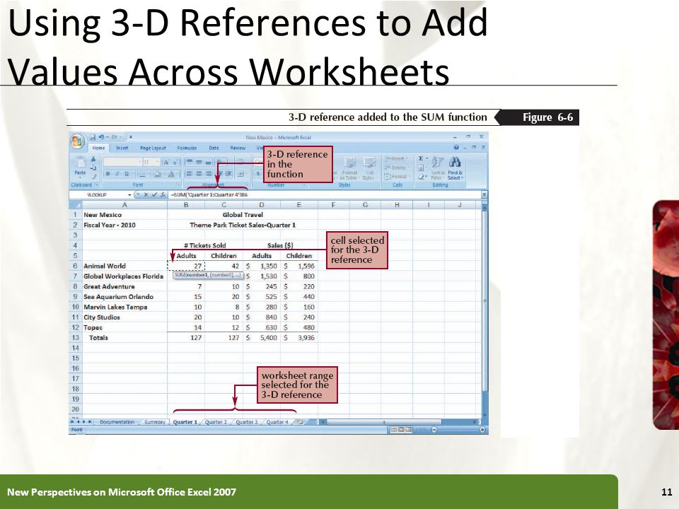 XP Using 3-D References to Add Values Across Worksheets New Perspectives on Microsoft Office Excel 200711