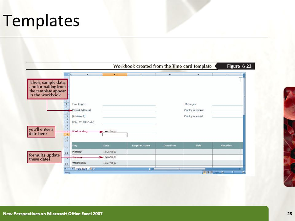XP Templates New Perspectives on Microsoft Office Excel 200723