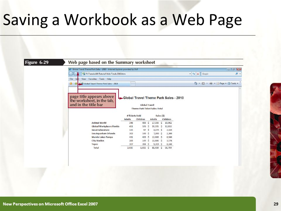 XP Saving a Workbook as a Web Page New Perspectives on Microsoft Office Excel 200729