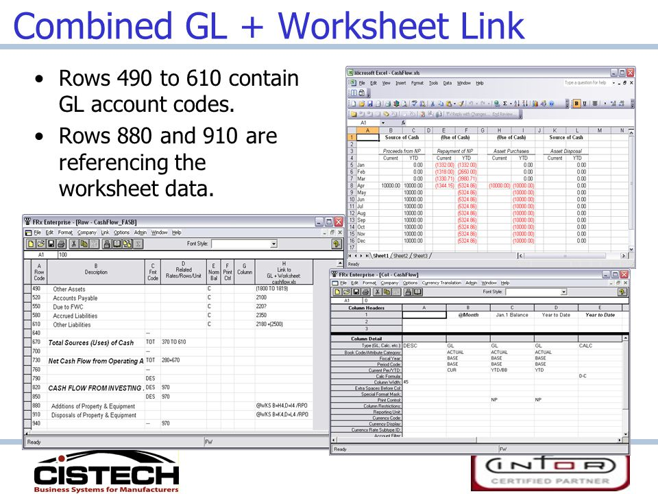 Combined GL + Worksheet Link Rows 490 to 610 contain GL account codes.