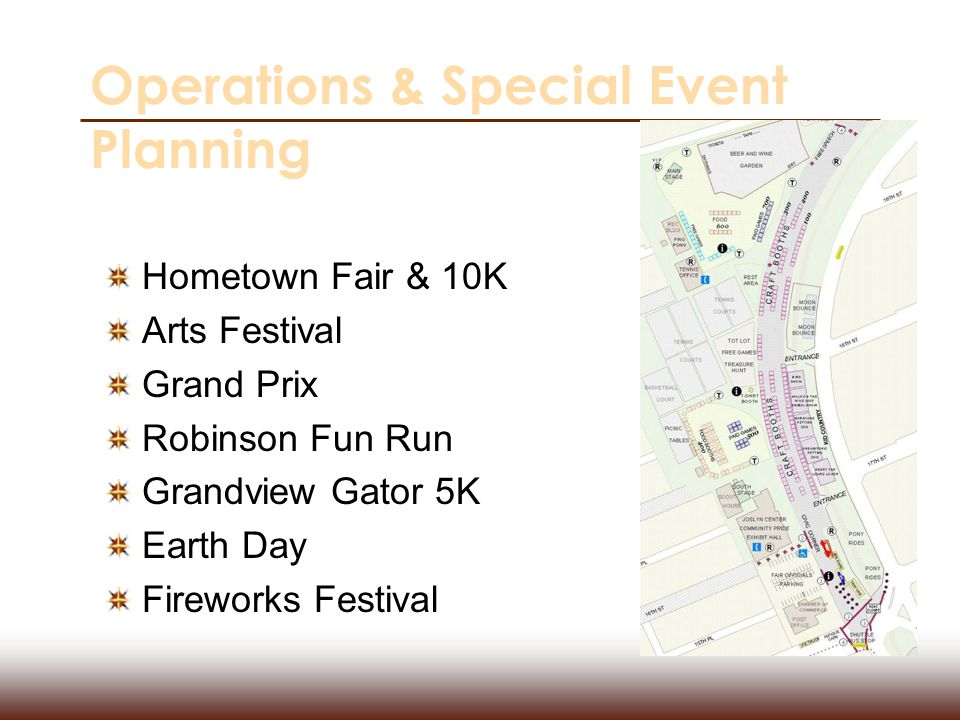 Operations & Special Event Planning Hometown Fair & 10K Arts Festival Grand Prix Robinson Fun Run Grandview Gator 5K Earth Day Fireworks Festival