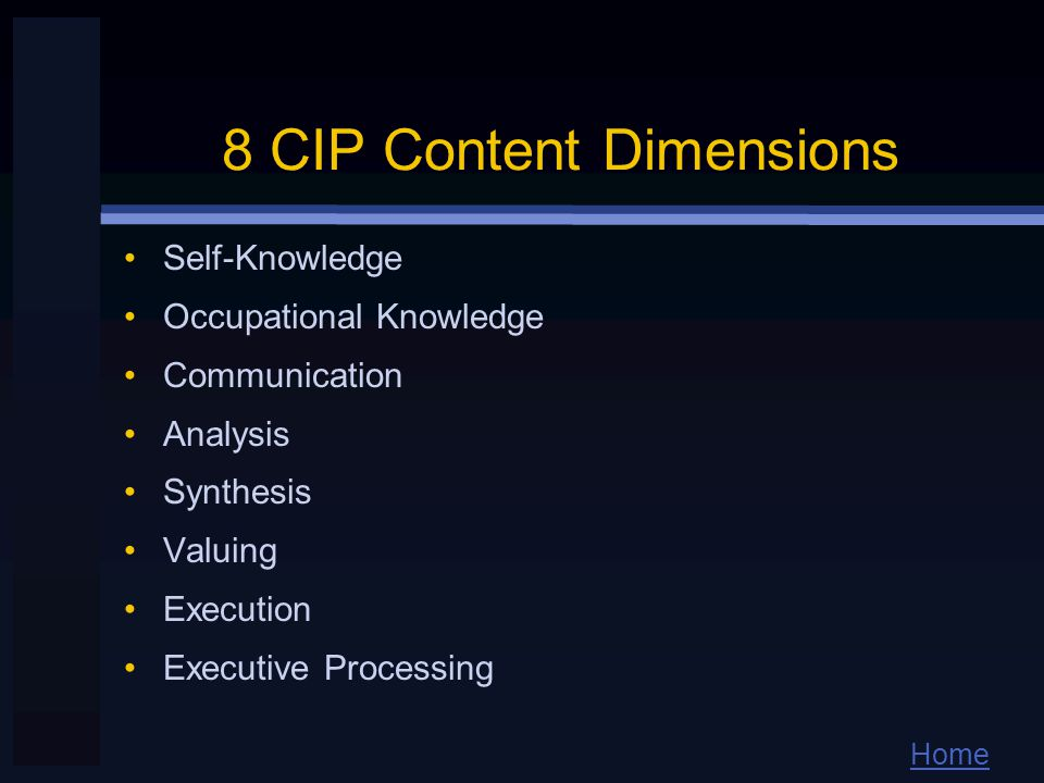 Home 8 CIP Content Dimensions Self-Knowledge Occupational Knowledge Communication Analysis Synthesis Valuing Execution Executive Processing