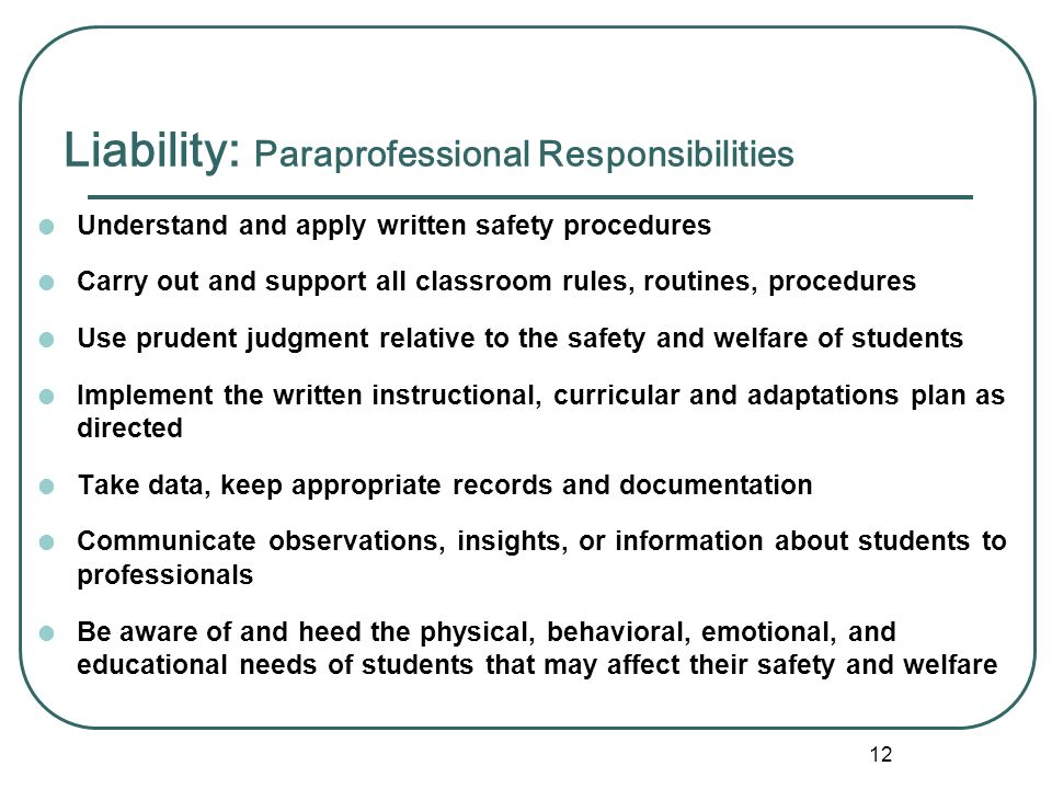 11 Liability Activity: Discuss with a partner what the word liability means to you Jot down three words that relate to issues of reliability