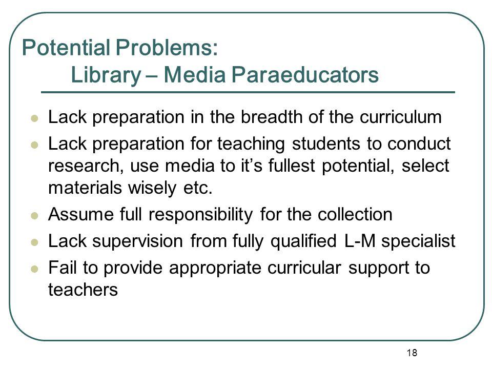 17 Potential Problems: ESL / Bilingual Paraeducators Lack training in ESL and instructional methods, language acquisition, behavior management, etc. H