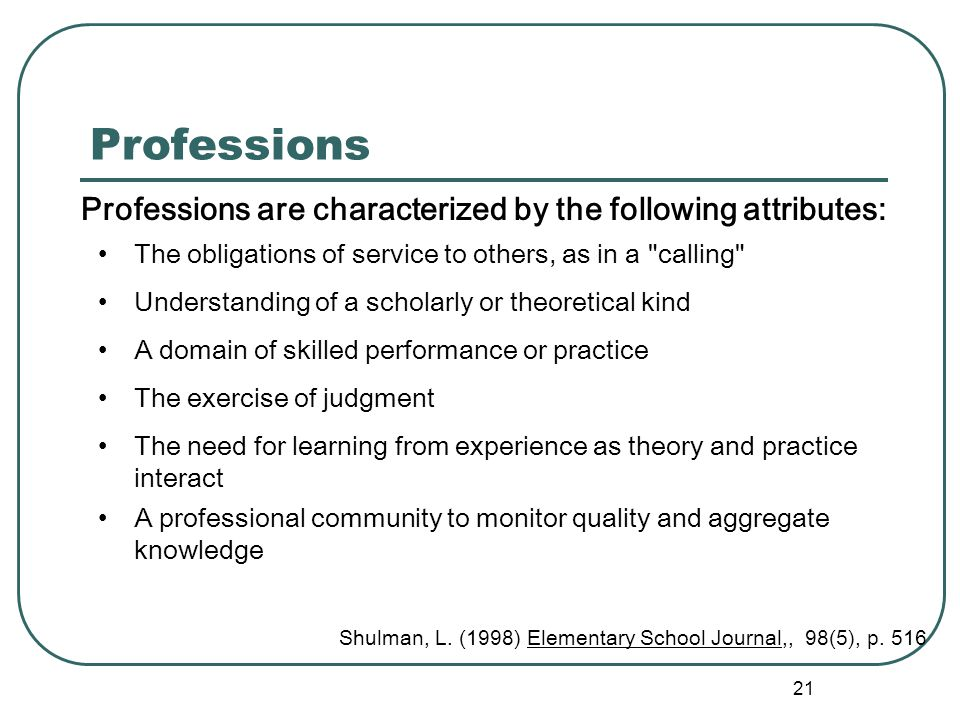 20 Shifting Roles Professional Status and Supervision the changing role of the teacher signifies a shift toward a more professional status for teacher
