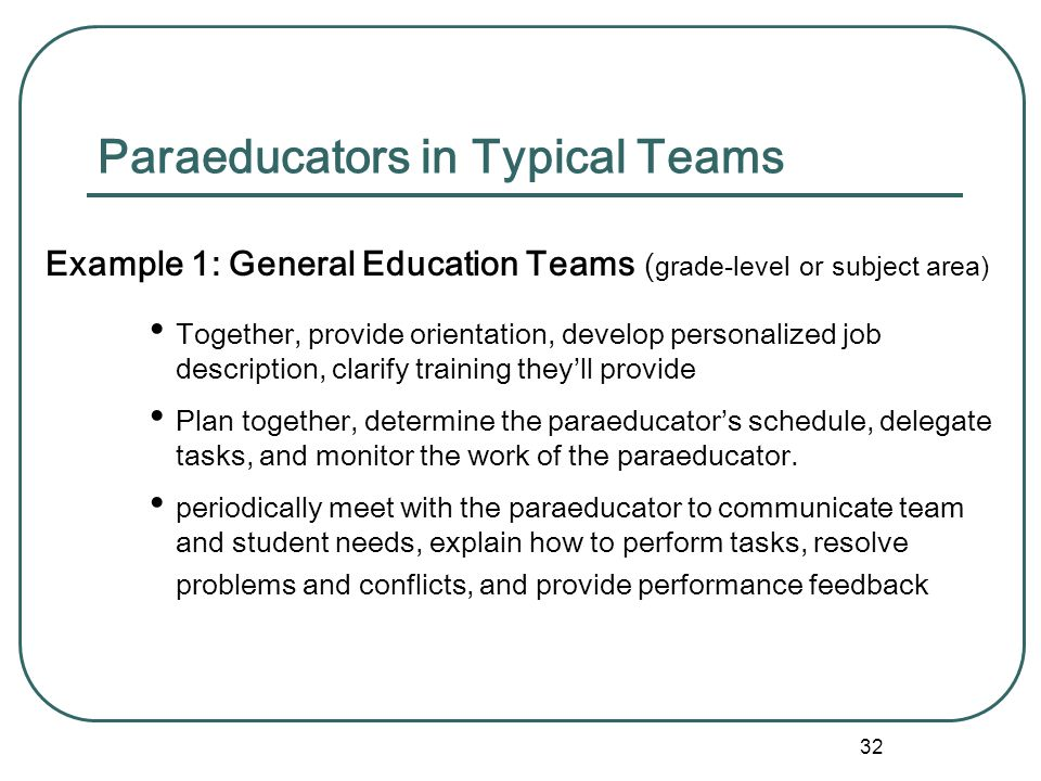 31 Team vs. Individual Supervision Activity: Stop and think about your situation. Briefly describe the way paraprofessionals are used in your school.