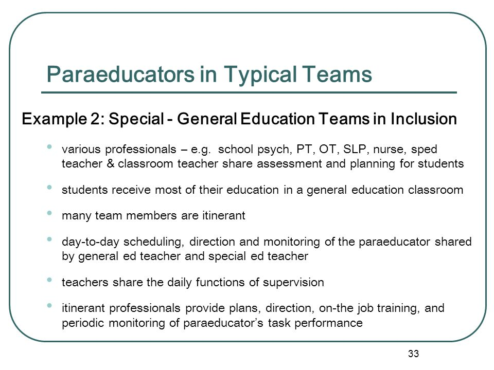 32 Paraeducators in Typical Teams Example 1: General Education Teams ( grade-level or subject area) Together, provide orientation, develop personalize