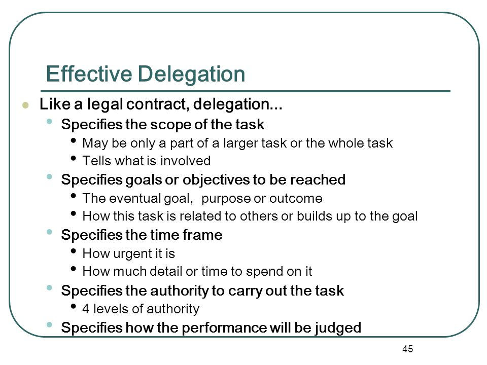 44 Why School Professionals Fail to Delegate Top 10 reasons school professionals fail to delegate. 1. I can do it faster myself 2. I am a perfectionis