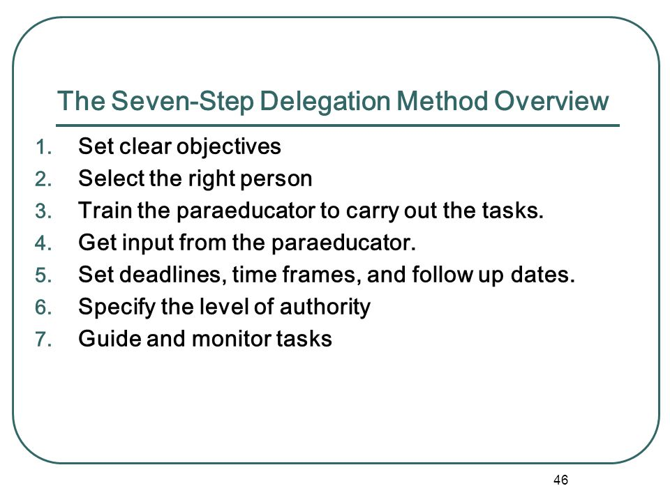 45 Effective Delegation Like a legal contract, delegation... Specifies the scope of the task May be only a part of a larger task or the whole task Tel