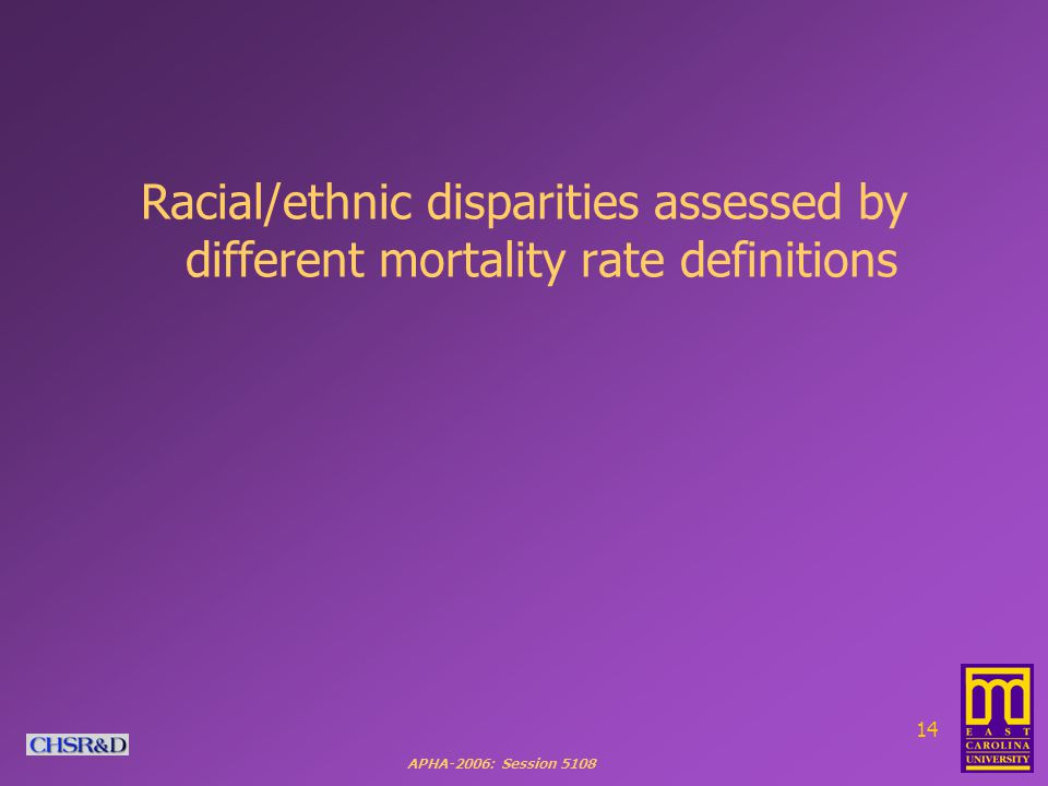 APHA-2006: Session 5108 14 Racial/ethnic disparities assessed by different mortality rate definitions