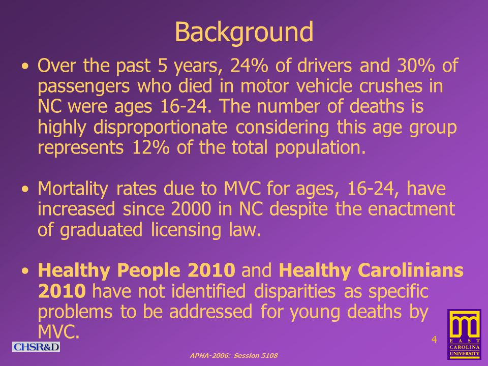 APHA-2006: Session 5108 5 Typically, MVC mortality rates are expressed as deaths per population (e.g., Healthy People 2010).