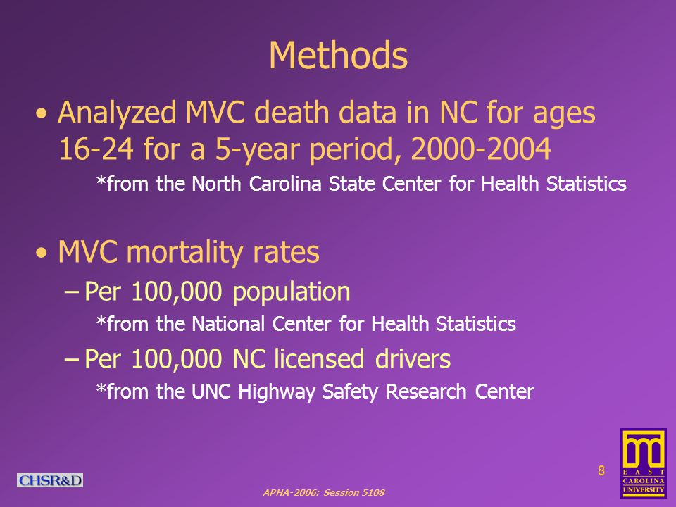 APHA-2006: Session 5108 9 We looked at MVC mortality rates for young drivers in NC by: Race/Ethnicity: Whites, African Americans, Native Americans, and Hispanics 41 Eastern Counties Gender: Male vs.